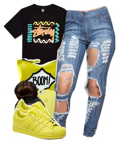 """""""finna go to sleep"""" by lovebrii-xo ❤ liked on Polyvore featuring Stussy and adidas Originals"""