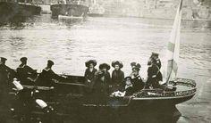 The Imperial Family boating, 1912. From left: Grand Duchesses Maria, Tatiana, Anastasia, and Olga, the Tsaritsa, Tsar, and Tsarevitch