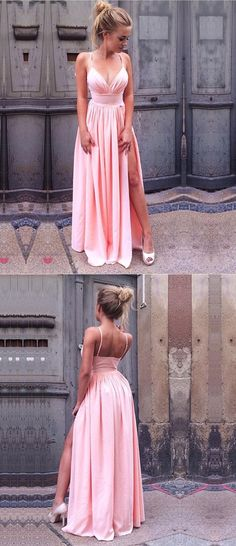 pink prom party dresses, chic fashion split formal evening gowns, fashion dresses.