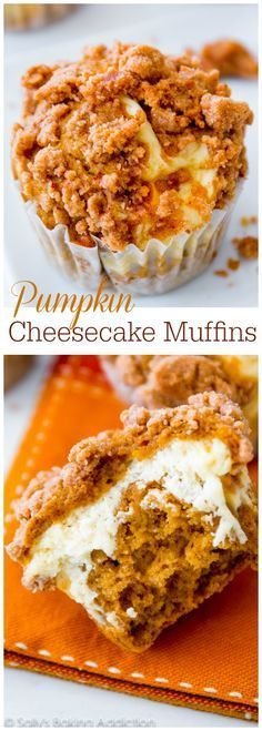 These are perfection! Super-moist pumpkin spice muffins stuffed with cheesecake topped with brown sugar cinnamon streusel.
