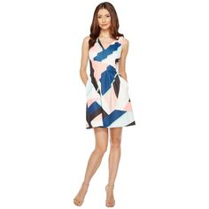 Vince Camuto Printed Scuba V-Neck Fit and Flare Dress (Blush Multi)... ($128) ❤ liked on Polyvore featuring dresses, v-neck dresses, fit flare dress, v neck fit and flare dress, sleeveless dress and v neck dress