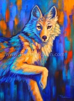 """Contemporary Coyote Painting in Bright Colors by Theresa Paden, SOLD"" - Original Fine Art for Sale - © Theresa Paden, hope you are having fun with your art Bright Colors Art, Original Art, Original Paintings, Watercolor Projects, Southwest Art, Wolf, Wildlife Art, Wildlife Paintings, Watercolor Animals"