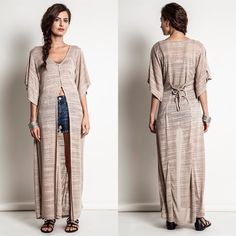 "LOWEST ""Dazzle"" Asymmetrical Maxi Top / Duster Latte high low button front top. Also can be layered as a duster. Available in SILVER and LATTE. This listing is for the SILVER. Runs true to size. Brand new without tags. NO TRADES. Bare Anthology Tops"