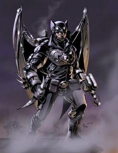 Ray Raymond Jr./Owlman II/Powers/Suit Granting High Intelligence and Physical Abilities, Skilled Martial Artist, Utility Belt, Owl-Rangs, Smoke Bombs, Explosives, Firearms