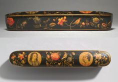 Pen Box with Flowers, Birds, and Portraits, Haydar 'Ali, Persian… Persian Pattern, Iranian Art, Pen Case, Chalk Paint Furniture, Box Art, Islamic Art, Band, Antiques, Modern
