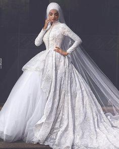 Said Mhamad Princess Arab Hijab Arabic Muslim Lace Long Sleeve Wedding Dresses