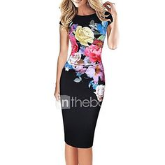 c624b3181fc Women s Floral Plus Size Party Daily Street chic Bodycon Dress - Floral  Print Blue Green Black XXXL XXXXL XXXXXL   Slim 2019 - US  9.72