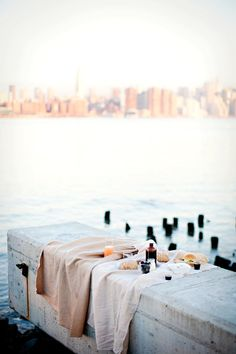 {Picnic on the dock.}