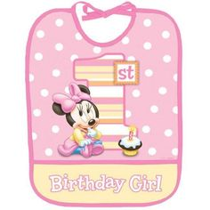 "Dress up the guest of honor at your Minnie Mouse 1st Birthday celebration! + Package contains (1) plastic bib 10"" x 14.5"" Free Shipping on orders over $25! Ships same or next business day!"