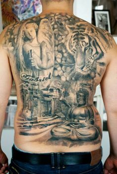 Full back tatto - angel - tiger - buddha - black and white tattoo  by Marica Póti at Creation Tattooshop Budapest