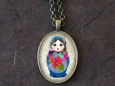 Matryoshka Doll Necklace Nesting Doll Pendant by DearVioleta, $14.60
