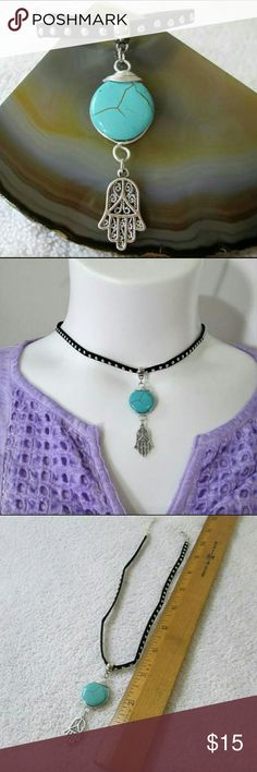 """NEW 💙  Boho Choker Hasma hand dangles from wire wrapped  turquoise dyed howlite stone.  On  soft studded suede choker.  Adjusts approx 15"""" - 16"""". NWOT  peppedup festival gypsy hippie bohemian Jewelry Necklaces"""