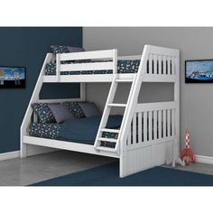 Viv + Rae Trumble Twin Over Full Bunk Bed with Drawers Color: White Under Bed Drawers, Bunk Beds With Drawers, Bunk Bed With Desk, Bunk Bed With Trundle, Full Bunk Beds, Bunk Beds With Stairs, Desk Under Stairs, L Shaped Bunk Beds, Bunk Beds With Storage