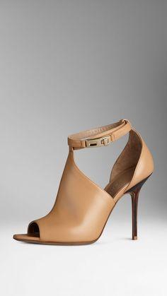 Peep-Toe Leather Boots
