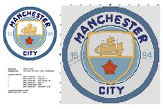 Manchester City badge free soccer cross stitch patterns - free cross stitch patterns by Alex Cross Stitch Love, Cross Stitch Alphabet, Cross Stitch Charts, Cross Stitch Patterns, Blackwork Cross Stitch, Cross Stitch Embroidery, Man City Badge, Manchester City Logo, Crochet Men