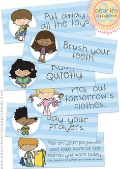 Chore Chart Printables I'm thinking dry erase style in picture frames, one for each kiddo to check off each night.