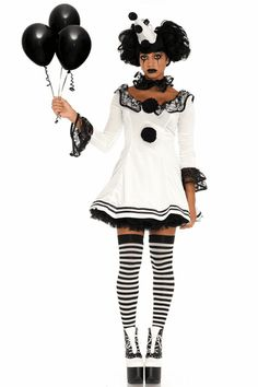 [Halloween Costumes Women] Leg Avenue Women's 3 Pc Pierrot Clown Halloween Costume, White/Black, Medium/Large >>> You can find more details by visiting the image link. (This is an affiliate link) Rave Halloween Costumes, Halloween Circus, Fete Halloween, Game Costumes, Vintage Halloween, Clown Costume Women, Circus Costume, Costume Dress, Costumes For Women