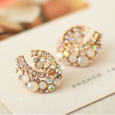 [$28.00] Colorful Diamond Heart-shaped Crystal Engagement Stud Earrings - Free Shipping