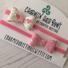Pink Heart Baby Hair Bow Sets PARTY BOW Photo Prop BABY | Etsy Baby Hair Bows, Baby Headbands, Custom Bows, Glitter Fabric, Handmade Birthday Cards, Photo Props, Heart, Unique Jewelry, Handmade Gifts