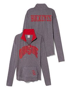 PINK The Ohio State University Raw Half-zip Pullover small
