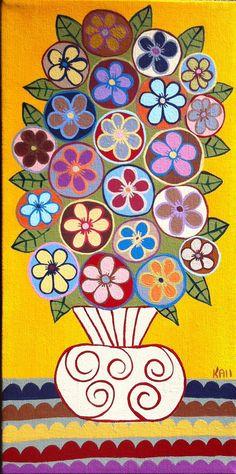 Kerri Ambrosino Art Original Sunshine Mexican Folk Art Flowers on Etsy, $75.00