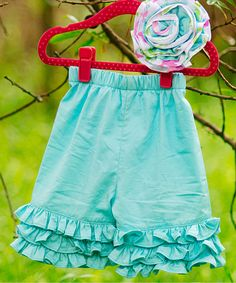 Another great find on #zulily! Aqua Triple Ruffle Monkey Bar Shorts - Infant, Toddler & Girls by Sweet Charlotte #zulilyfinds