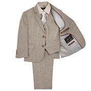 5pc Light Grey Linen Boy\'s Suit Set (2T-4T)