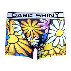Men's Boxer Briefs-Colorful Flowers, front メンズファッション アンダーウェア ボクサーパンツ #darkshiny #mensfashion #boxerbrief #underwear