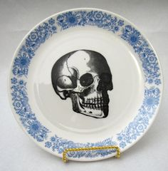 Vintage Blue Skull Plate vintage wall plate home decor altered vintage Royal Blue