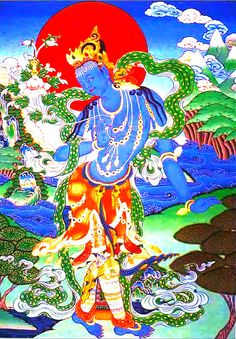 "Vajrapani, ""Vajra in Hand,"" bodhisattva who represents the power of the buddhas & is responsible for transmitting tantras to the human realm. His emblem is a vajra"