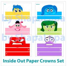 Set consists of 6 crowns with different heroes of Inside Out such as: • Joy • Sadness • Anger • Disgust • Fear • Bing Bong  It can be used by boys as