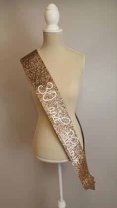 Beautiful handmade gold glitter Birthday sash. Perfect for birthday party, baby…