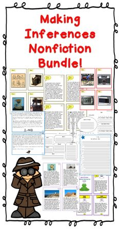 Save money with this bundle of four nonfiction story products for Making Inferences! Differentiated levels, lots of practice activities including story task cards, picture task cards, games, graphic organizers, extension activities and worksheets.. Perfect for literacy centers, partners, small group, preteach, review and assessment. $