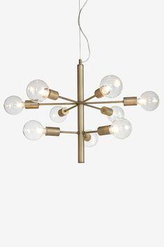 Ellos Home Loftlampe Galaxy Antik messing - Loftslamper Interior Lighting, Home Lighting, Chandelier Lighting, Brass Floor Lamp, Globe Lights, Home Decor Kitchen, Lamp Design, Living Room Interior, Pendant Lamp
