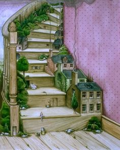 """💖 """"Living Stairs"""" painting / print by Colin Thompson. Stairs with built-in fairy doors, fairy houses, & trees! Love this idea! Illustration Vector, Children's Book Illustration, Book Illustrations, Stair Art, Stairway To Heaven, Fairy Houses, Tree Houses, Surreal Art, Architecture"""