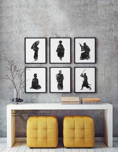 Japanese Art Set of 6, Geisha Art Print Woman Silhouette, Samurai Black and White Illustration, Gray Wall Decor, Abstract Warrior Painting by Silhouetown on Etsy