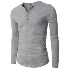 H2H Mens Henley T-shirts with Long Sleeve GRAY US M (Asia L) at Amazon... ❤ liked on Polyvore featuring men's fashion, men's clothing, men's shirts, men's t-shirts, mens longsleeve shirts, mens gray dress shirt, mens t shirts, mens grey t shirt and mens long sleeve shirts