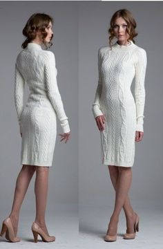 2020 White Knitwear Dress Models Stylish and Remarkable Sweater Dresses - Knitting Crochet Dress Outfits, Knit Dress, Classy Outfits, Fall Outfits, Fashion Outfits, Diy Kleidung, Diy Mode, Knit Fashion, Winter Dresses