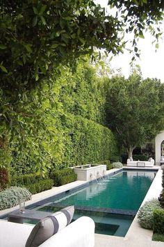 Narrow pool with spa and water feature. House of Arch Pool. Narrow pool with spa and water feature. House of Arch Pool Spa, Outdoor Pool, Outdoor Spaces, Indoor Outdoor, Outdoor Trees, Outdoor Decor, Langer Pool, Piscina Rectangular, Rectangular Pool