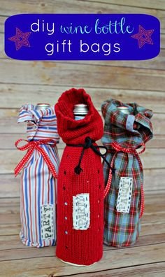 DIY Wine Gift Bags made from old shirts and sweaters  |  View From The Fridge