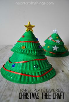Make paper plate cones and layer them together to make this fun Christmas Tree Craft.