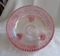 Lenox Imperial Glass Pink Carnival Glass Footed Fernery Bowl Lustre Rose | eBay