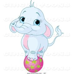 Circus Clipart of a Cute Blue Elephant Balancing on a Pink Ball by ...