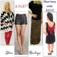 SALE!!! http://www.shoppingshine.com/collections/sale Almost everything is less than $20 in the sale collection!