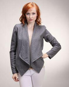 Moon Charcoal Jacket by Zizi Boutique Wool Fabric, Cheryl, Charcoal, Leather Jacket, Lapels, Blazer, Boutique, Layering, Muse