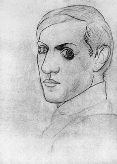 Self portrait by Pablo Picasso, 1917, pencil and charcoal on paper, Musée Picasso, Paris.