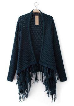 Dark Green Plain V-neck Loose Cotton Blend Sweater