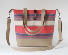 Multi color stripe canvas Tote / Shoulder Bag / school by BagyBags