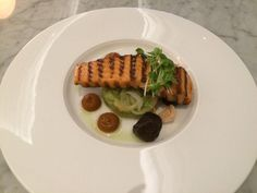 """From @Ali_Hawkins """"It gets better ... Chargrilled Salmon with cucumber kimchi, lychee, shiitake, chili relish - Chameleon @InterConWLG"""""""