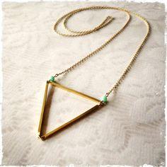 SHORELINE NECKLACE  long necklace  vintage brass  by BluHour,